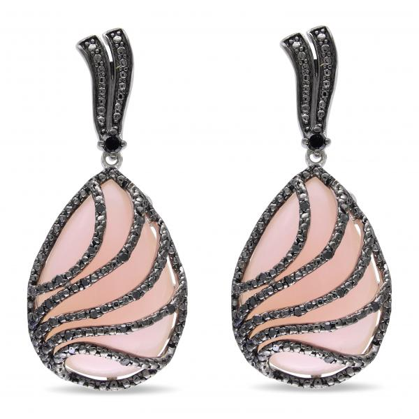 Pink Opal & Black Diamond Drop Earrings in Sterling Silver (36.25ct)