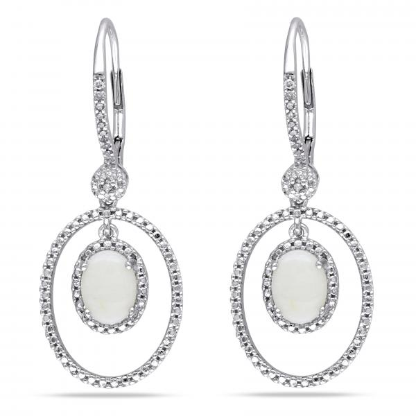 White Opal & Diamond Dangling Earrings .925 Sterling Silver (1.82ct)