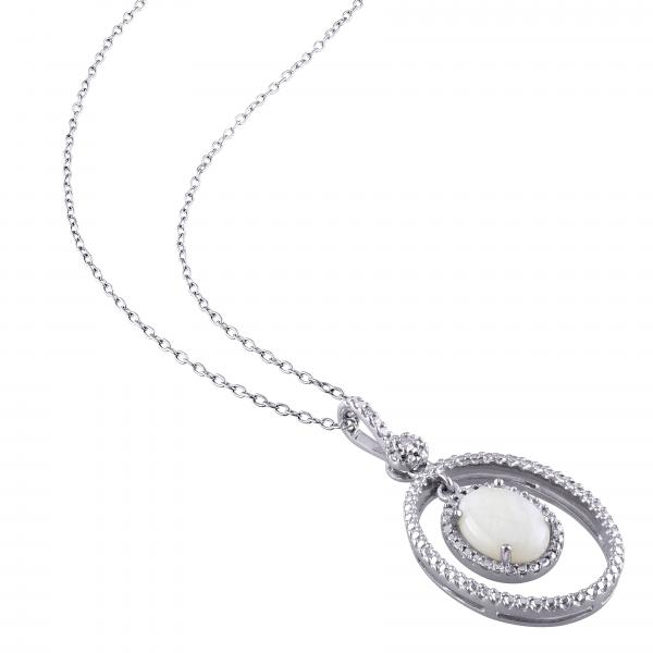 Oval White Opal & Diamond Pendant Necklace Sterling Silver (1.05ct)