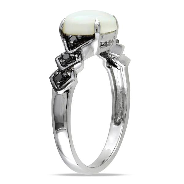 White Opal Ring w/ Black Diamond Side Stones Sterling Silver (1.35ct)