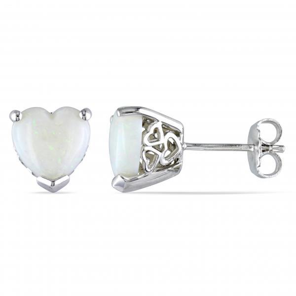Heart Shaped White Opal Stud Earrings .925 Sterling Silver  (2.44ct)