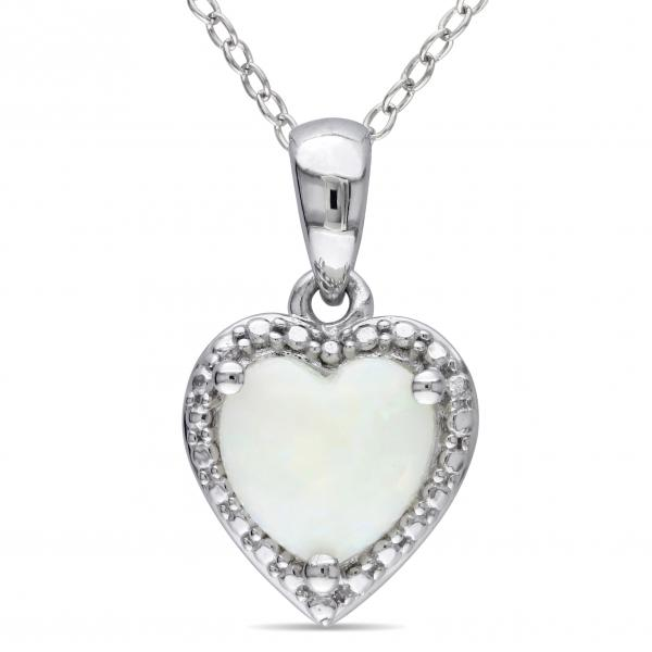 White Opal Heart Shaped Pendant Necklace in Sterling Silver (0.94ct)