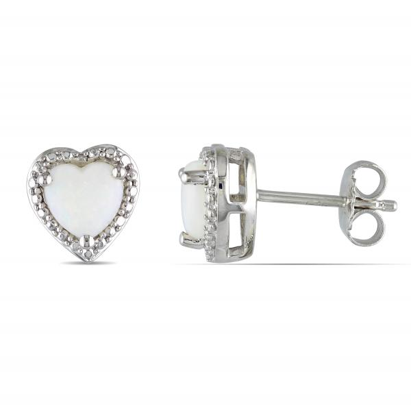 White Opal Solitaire Heart Stud Earrings in Sterling Silver (2.44ct)