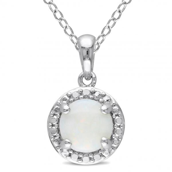 Round White Opal Solitaire Pendant Necklace Sterling Silver (1.00ct)