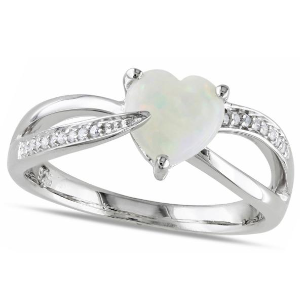 Heart Shaped White Opal Solitaire & Diamond Ring in Silver (0.99ct)