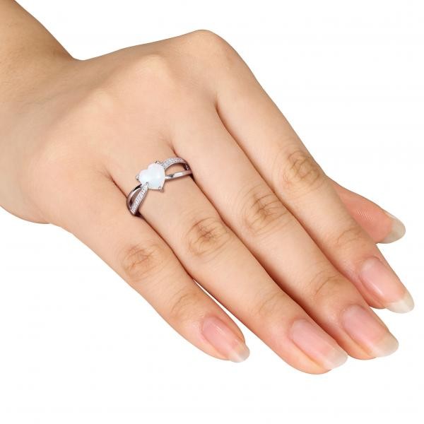 Heart Shaped White Opal Solitaire Amp Diamond Ring Silver 0