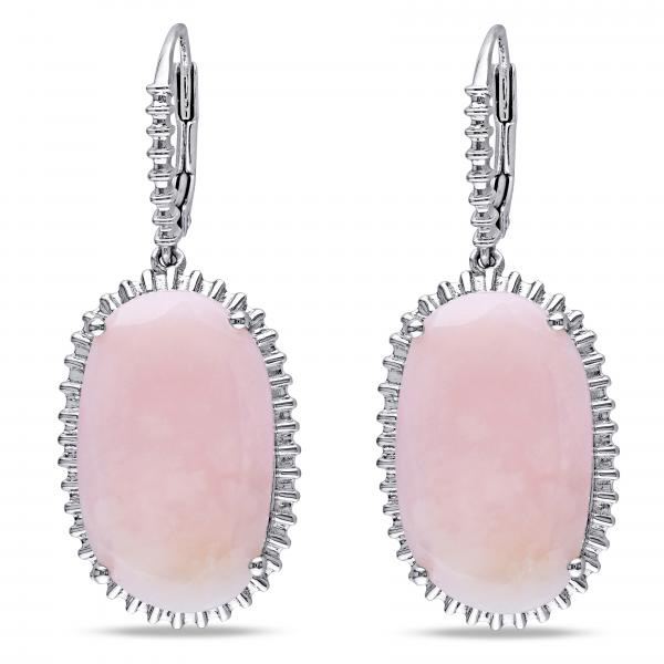 Prong Set Oval Shaped Pink Opal Drop Earrings Sterling Silver 20.88ct
