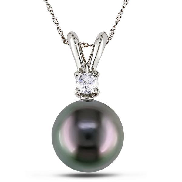 Black Tahitian Pearl & Diamond Pendant Necklace 14k White Gold 8-9mm