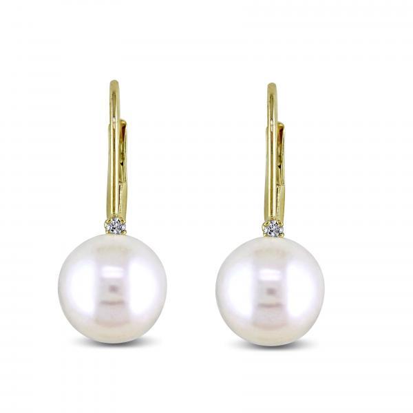 Freshwater Pearl & Diamond Leverback Earrings 14k Y. Gold 7-7.5mm
