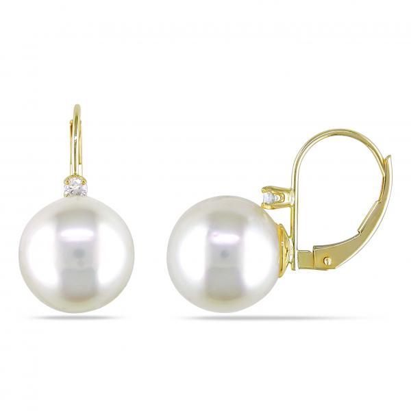 Freshwater Pearl & Diamond Leverback Earrings 14k Y. Gold 9-9.5mm