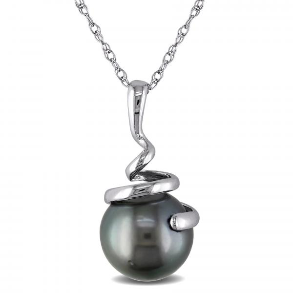 Black Tahitian Pearl Swirl Pendant Necklace in 14k White Gold 8-8.5mm