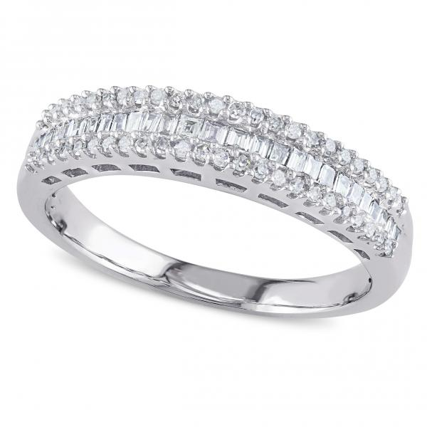 Baguette and Round Diamond Semi Eternity Band 14k White Gold 0.33ct