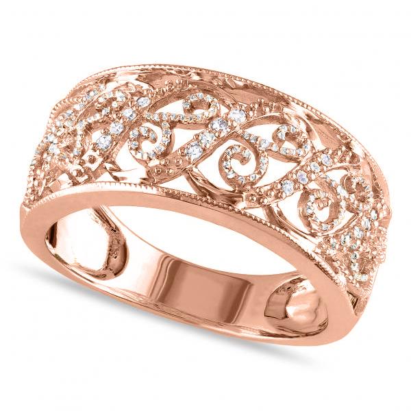 Ladies Pave Set Filigree Diamond Ring 14k Rose Gold 0.10ct