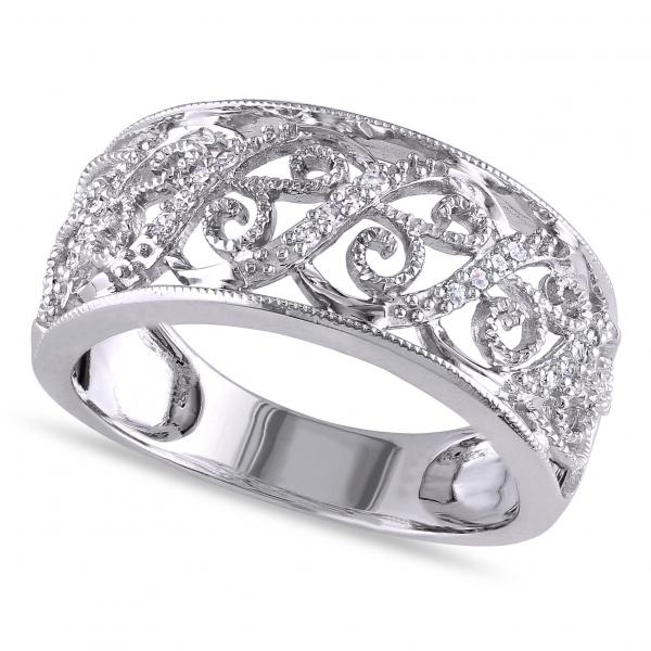Ladies Pave Set Filigree Diamond Ring 14k White Gold 0.10ct