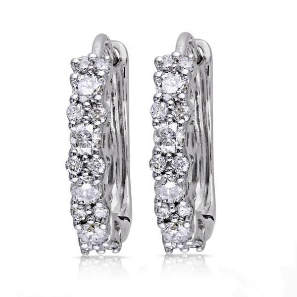 Diamond Huggies, Hoop Earrings for Women 14k White Gold 0.50ct