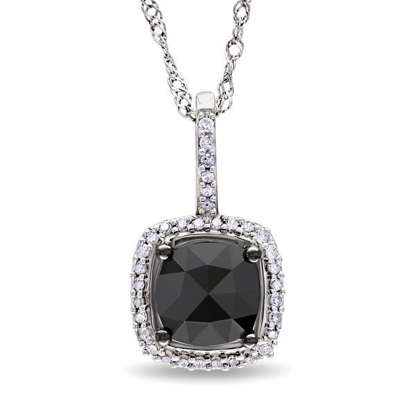 Black & White Diamond Square Halo Pendant Necklace 14k White Gold 1ct