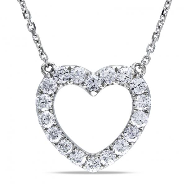 Open Heart Diamond Pendant Necklace for Women 14k White Gold 0.50ct