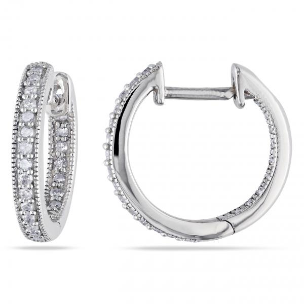 Vintage Inside Out Diamond Hoop Earrings Pave Set 14k White Gold 0 25ct
