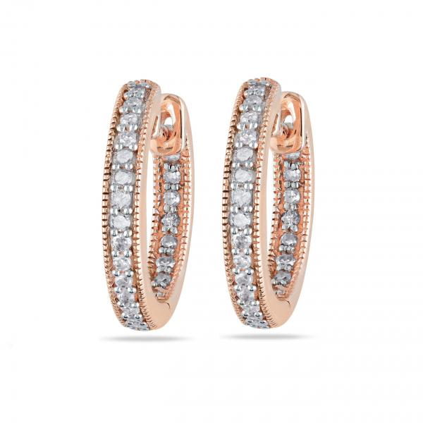 Vintage Inside Out Diamond Hoop Earrings Pave Set 14k Rose Gold 0.25ct