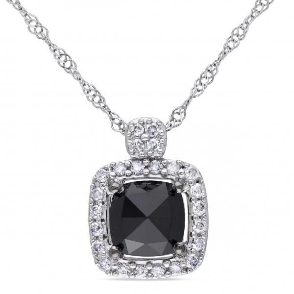 Cushion Cut Black & White Diamond Halo Necklace 14k White Gold 1.00ct