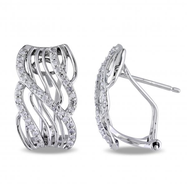 Abstract Diamond Huggie Earrings w/ Twisted Rows 14k White Gold 0.38ct