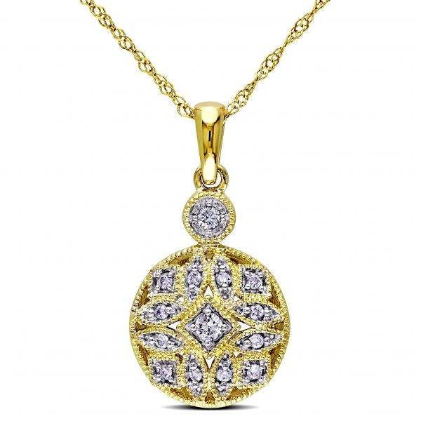 Vintage, Pave Set Diamond Pendant Necklace in 14k Yellow Gold 0.12ct