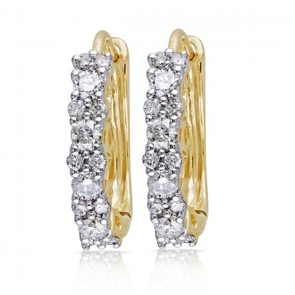 Diamond Huggies, Hoop Earrings for Women 14k Yellow Gold 0.50ct