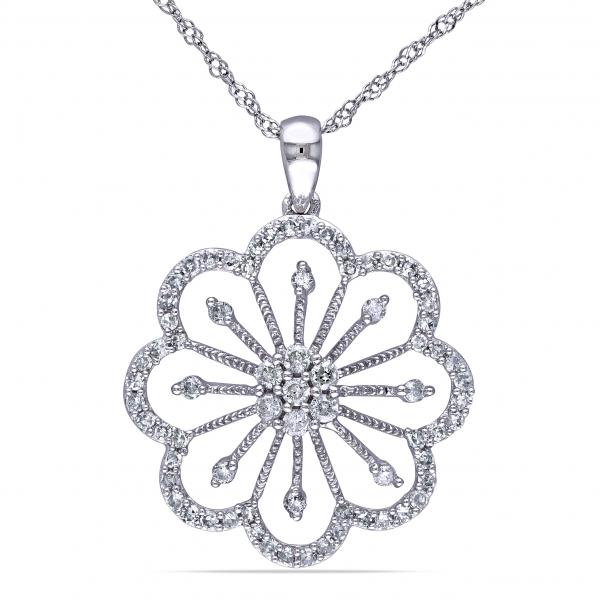 Ladies Diamond Flower Designed Pendant Necklace 14k White Gold 0.40ct