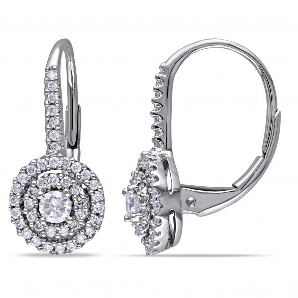 Double Halo Diamond Earrings for Women in 14k White Gold 0.50ct