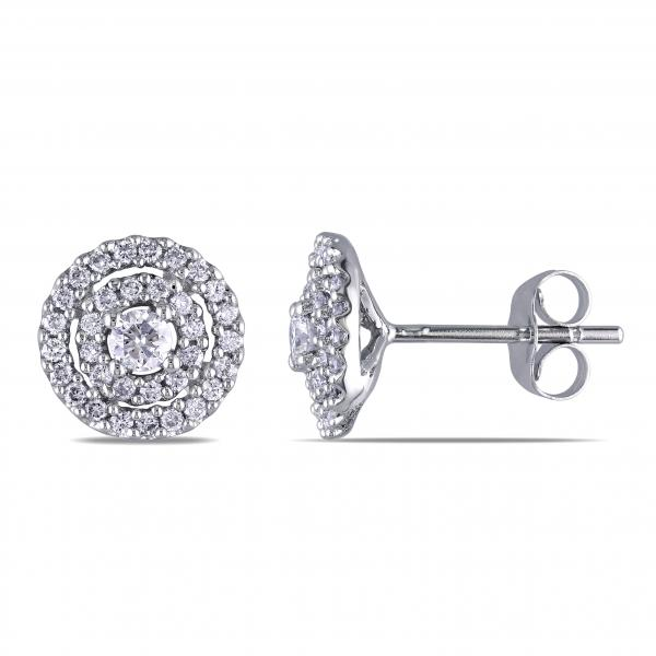 Ladies Double Halo Diamond Stud Earrings in 14k White Gold 0.50ct