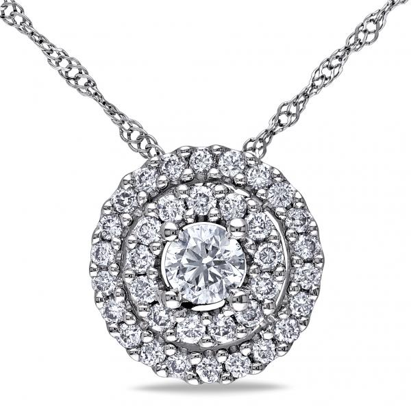 Double Halo Round Diamond Pendant Necklace in 14k White Gold 0.50ct
