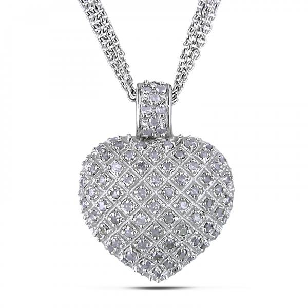 2bf35d7424262 Diamond Accented Puffed Heart Pendant Necklace Sterling Silver 1ct - DE98