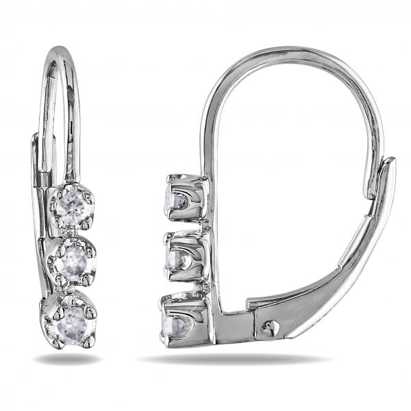 Graduated 3 Stone Diamond Drop Earrings Sterling Silver 0.25ct