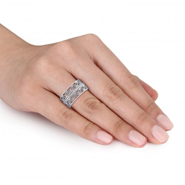Multi-Row Etched, Layered Diamond Band Pave Set Sterling Silver 0.15ct