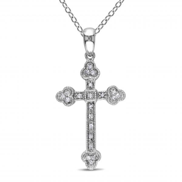 Ladies Pave Set Diamond Cross Pendant & Chain Sterling Silver 0.10ct