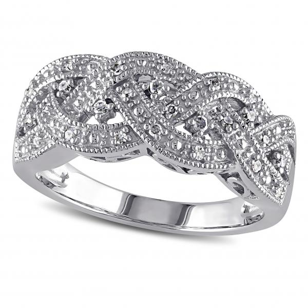 Diamond Band, Weaved, Braided Crossover Ring in Sterling Silver 0.13ct
