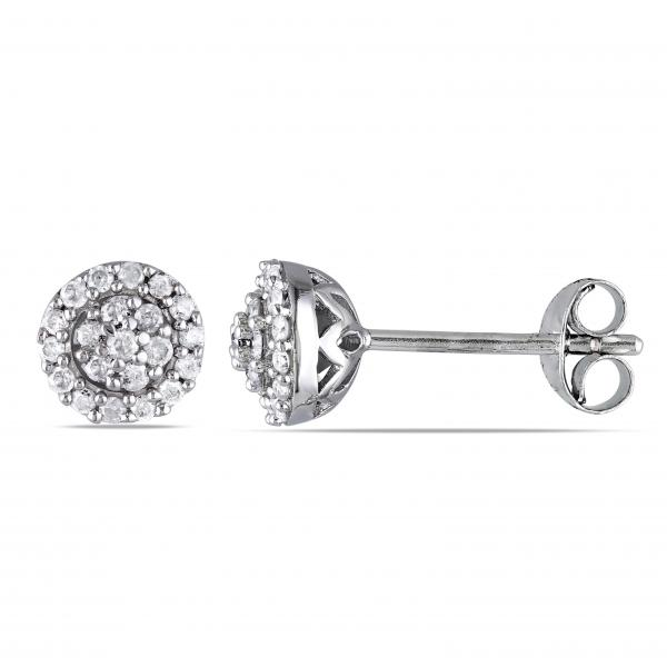 Halo Diamond Stud Earrings in Cluster Design Sterling Silver 0.25ct