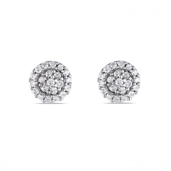 Halo Diamond Stud Earrings in Cluster Design Sterling Silver 0.25ct