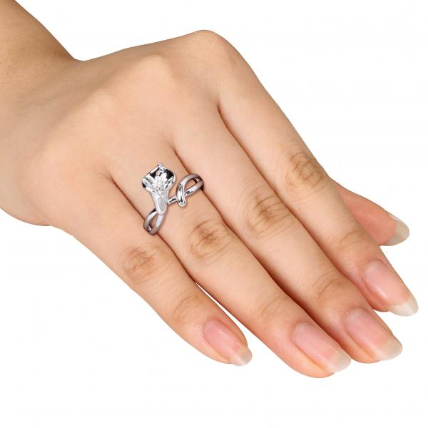 Trumpet Flower Fashion Ring with Diamond Center Sterling Silver 0.01ct