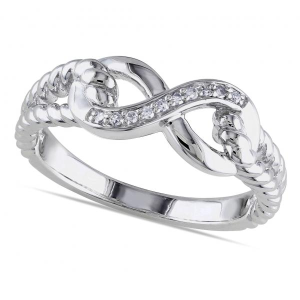 Infinity Ring w/ Braided Sides, Diamond Accents Sterling Silver 0.05