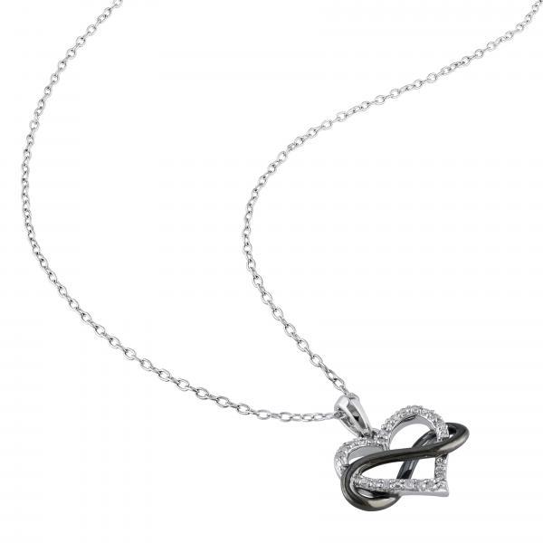 Diamond Heart w/ Black Rhodium Infinity Loop Sterling Silver 0.10ct