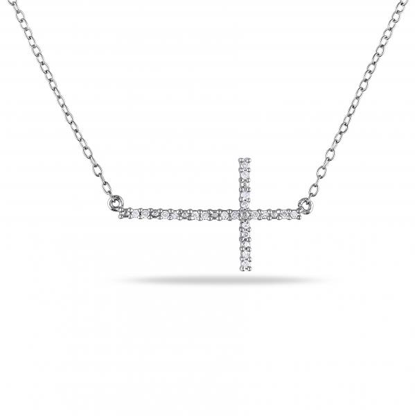 Diamond Sideways Cross Necklace for Women in Sterling Silver 0.10ct