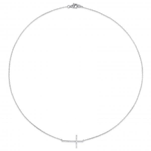 Diamond Sideways Cross Necklace for Women in Sterling Silver 0.10ct