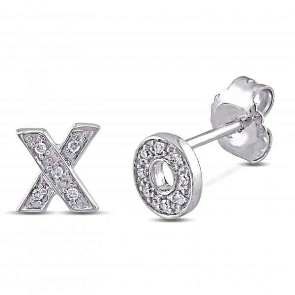 Diamond Pave Set XO Stud Earrings in Polished Sterling Silver 0.05ct