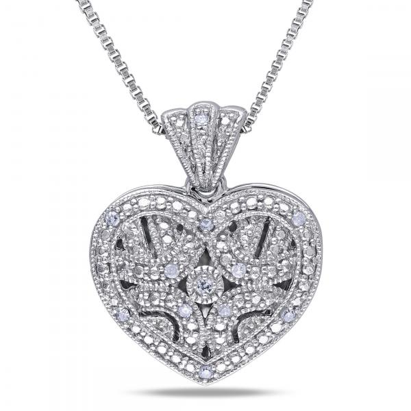 Vintage Diamond Heart Locket Necklace Set in Sterling Silver 0.06ct