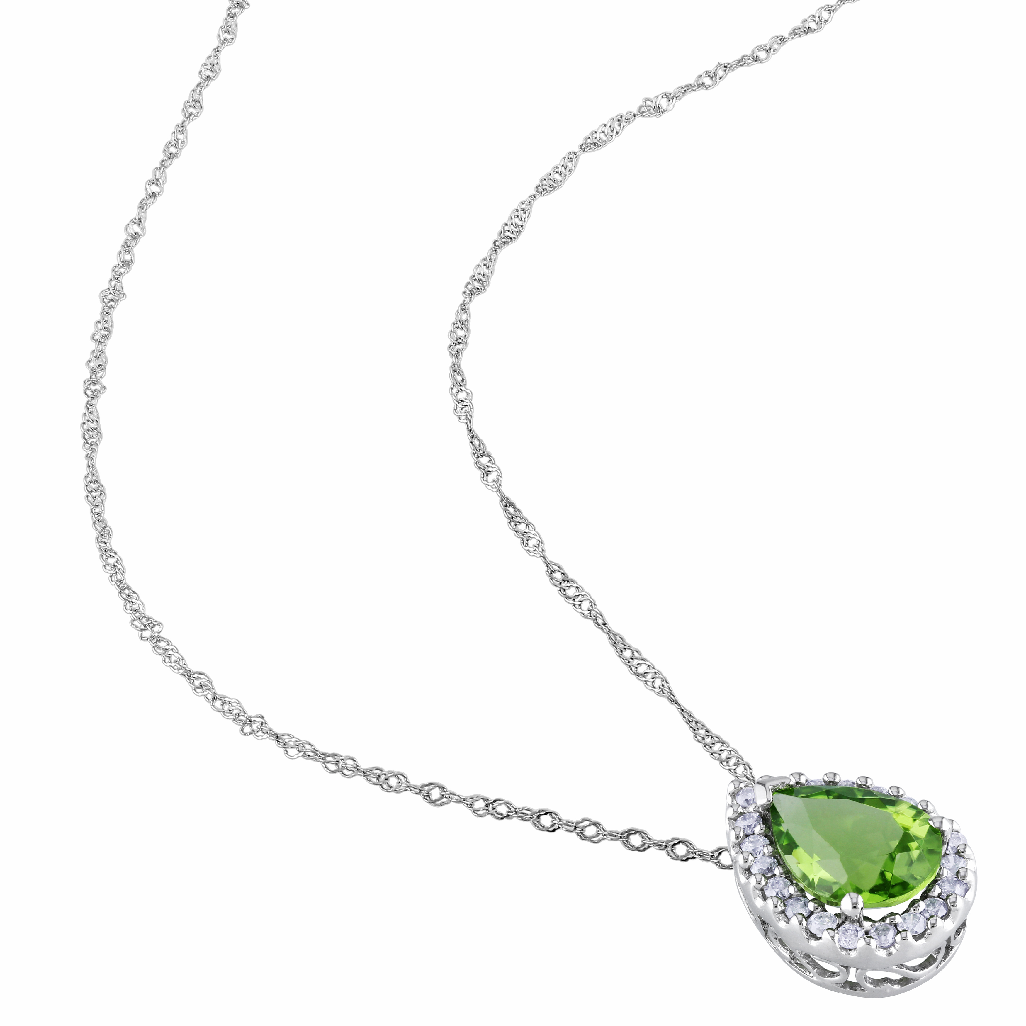 Diamond & Pear Peridot Halo Pendant Necklace 14k White Gold (1.83ct)