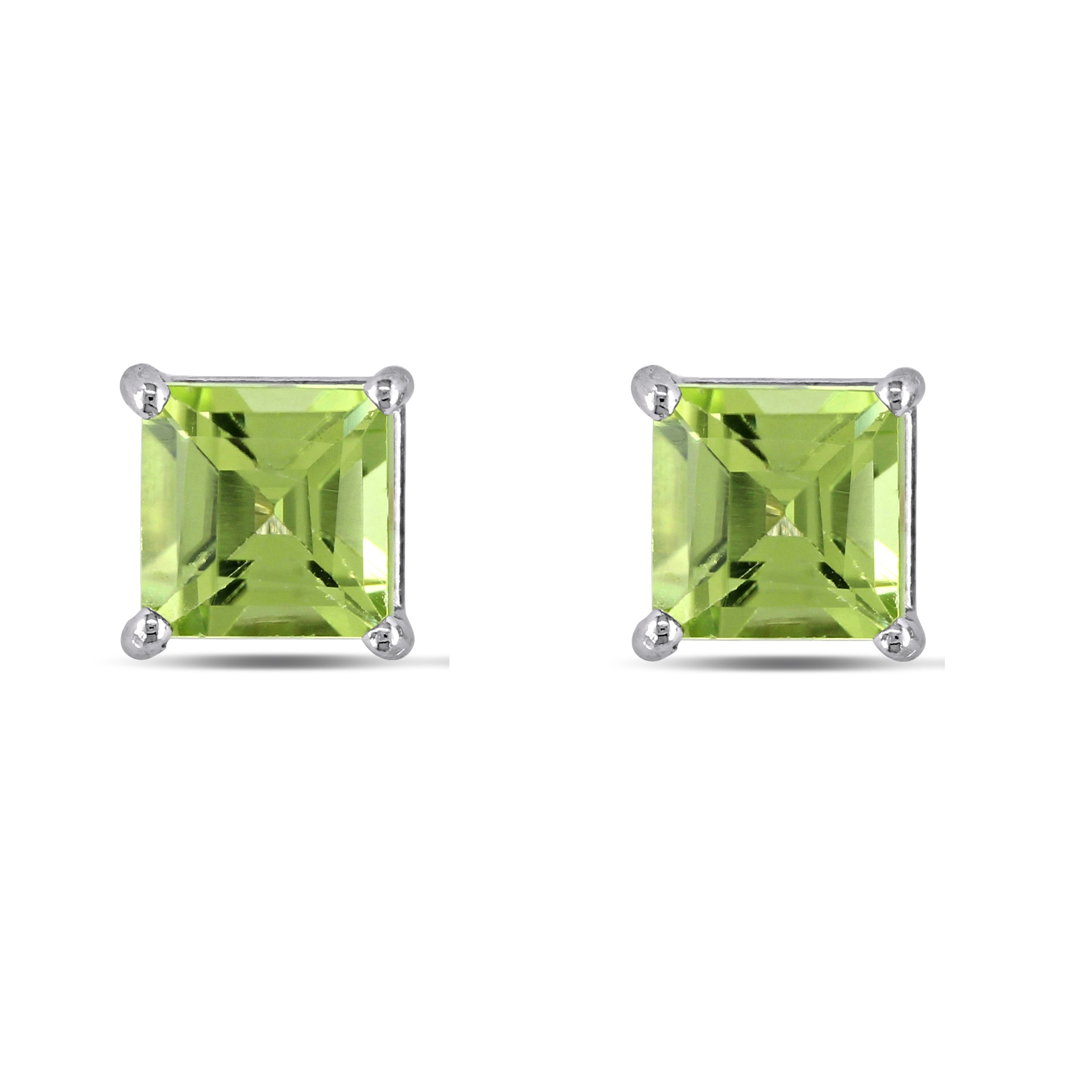 Princess-cut Green Peridot Stud Earrings 14k White Gold (0.63ct)