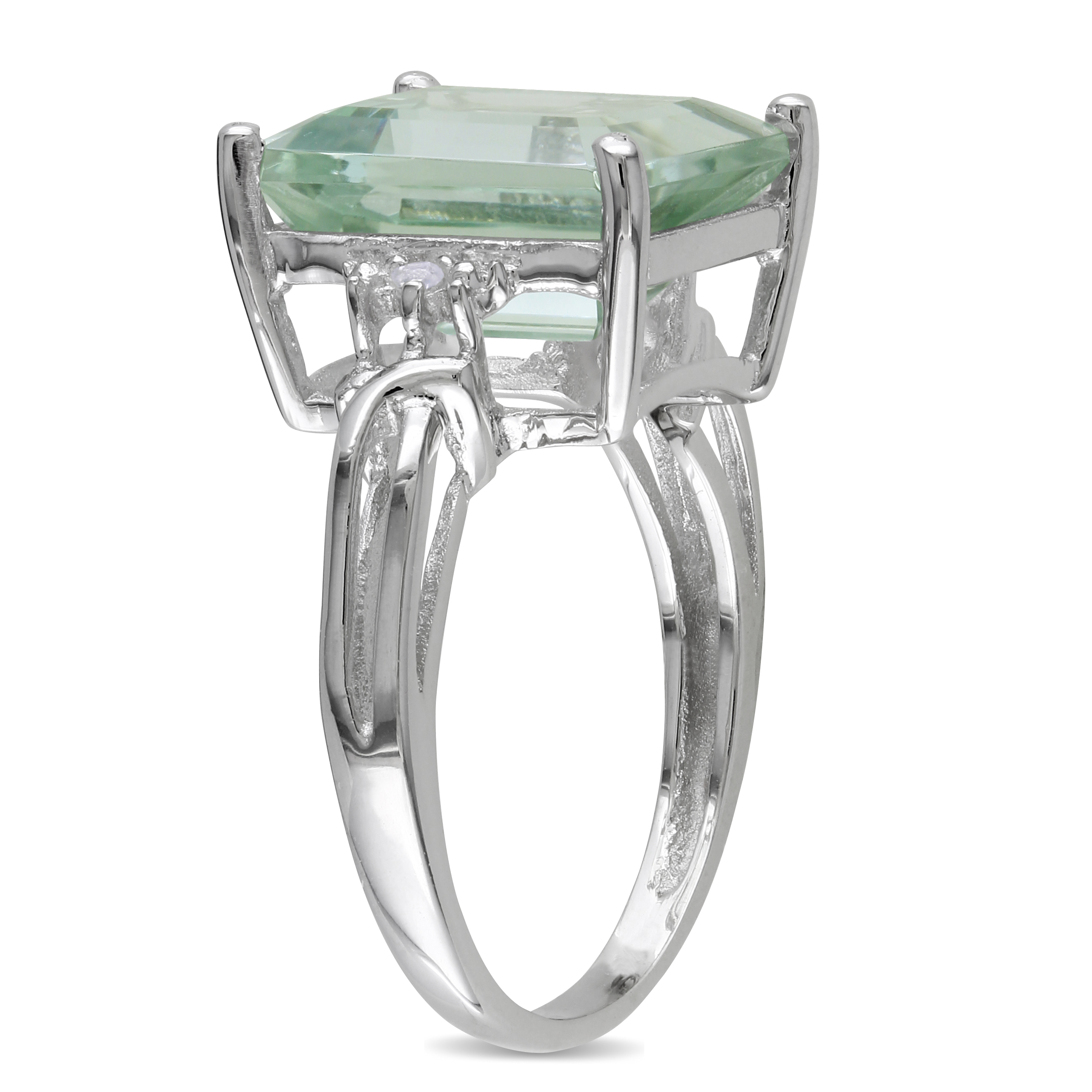 White Topaz & Green Amethyst Fashion Ring Sterling Silver (5.63ct)
