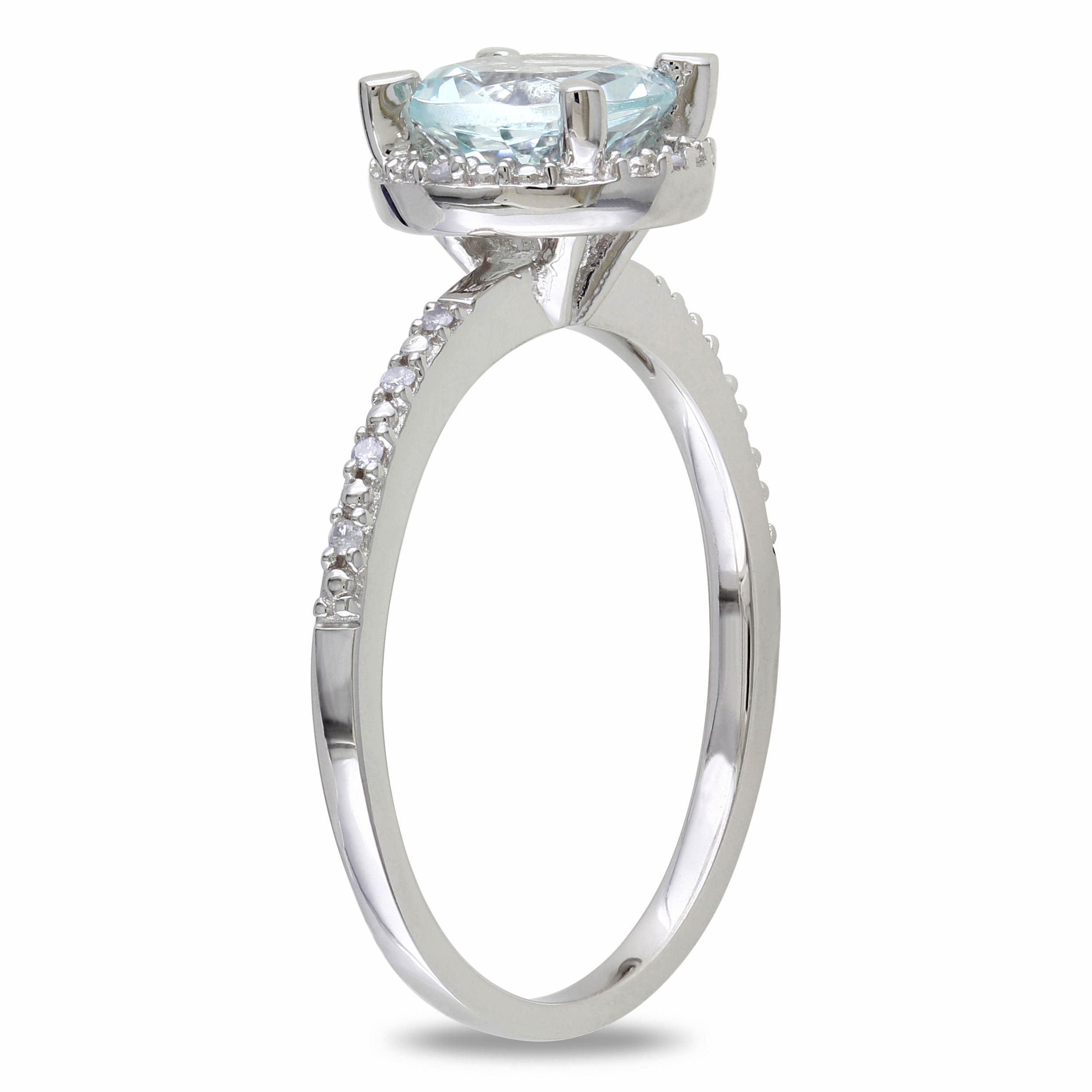 Diamond & Round Aquamarine Fashion Ring Sterling Silver (1.19ct)
