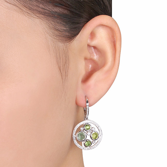 Diamond Peridot & Green Amethyst Earrings Sterling Silver (4.55ct)